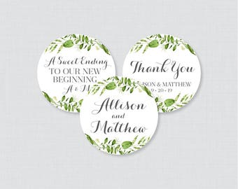 Printable OR Printed Wedding Stickers - Greenery Circle Wedding Labels, Personalized Wedding Favor Tags/Stickers, Green White Stickers 0007