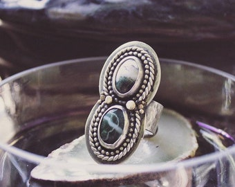 Sterling Silver Double Ocean Jasper Ring with Gold Details, Handmade Sterling Silver Earthy Ring, Statement Sterling Silver Ring Size 8.5