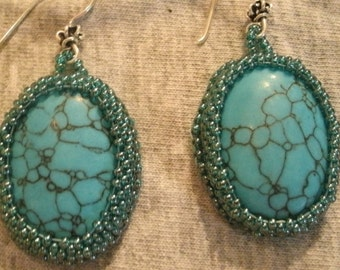 Turquoise IMIT Light Blue Hand Bead Embroidered Cabashon, Sterling Silver Drop Earrings