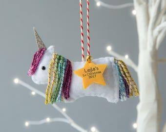 Rainbow Unicorn Christmas Decoration - Unicorn Ornament  - Personalised Decoration - Baby's First Christmas Gift - Unicorn Gift