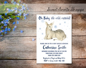 Deer Baby Shower Invitation, Baby It's Cold Outside Shower Invitation, Winter Baby Shower, Snowflake Baby Shower Invitation, December Shower