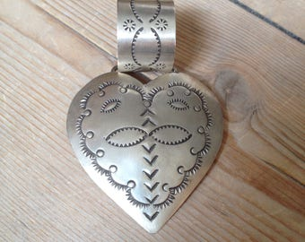 Navajo Hand stamped Heart pendant Sterling silver Large bail