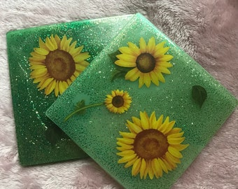 Sunflower resin coaster