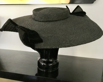Vintage Black Straw Picture Frame Wide Brimmed Women's Hat.  Black Velvet Bow Detail. From the Woodward Shop, downtown Detroit, circa 40-50