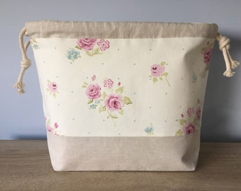 Large knitting / crochet project bag - Pretty pink Roses