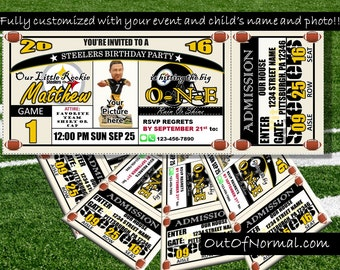 Steelers tickets etsy pittsburgh steelers themed birthday invitation tickets football birthday invitations personalized and customized filmwisefo Gallery