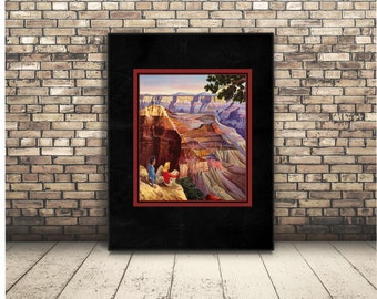 Grand Canyon Poster of Utah,Bryce National Parks. Arizona Hiking and Tourism in United States. USA Vintage Wall Art or Home Decor. Retro.