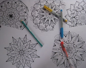 Instant Download Mandala Coloring Pages - 5 Printable Designs  - Set 4