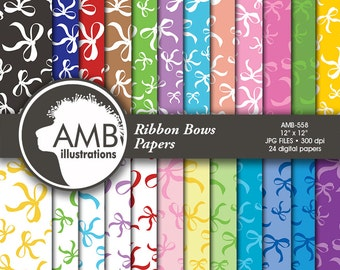 Ribbon digital paper, Ribbon paper, Ribbon, bow scrapbook papers and backgrounds, bow digital papers, commercial use, AMB-558