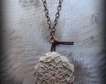 Crocheted Lace, Smooth Stone Necklace, Handmade, Mocha Brown Thread, Beach Rock, Smooth Stone, Nature Lover, Original, Bohemian, Monicaj