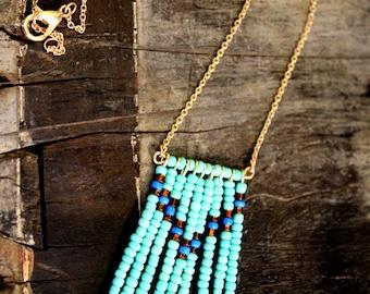 Turquoise Chevron Bead Necklace