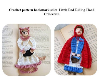 fairytale bookmark DIY, red riding hood bookmark DIY, wolf crochet pattern set, librarian gift diy, crochet bookmark patterns, crochet diy