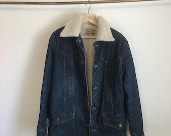 Vintage LEE Storm Rider Jean Jacket, Denim Jacket with Sheepskin Lining, Vintage Denim Jacket, Mens Jacket