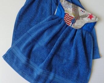 Kitchen Towel/Hand Towel/Patriotic Print Hanging Hand Towels/Button Hand Towel/Kitchen Accessories