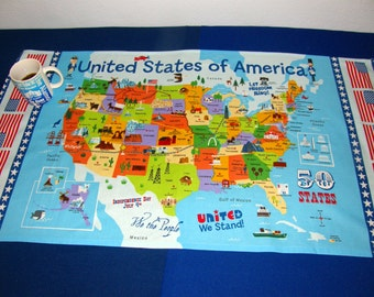 Map table cloth etsy usa table cloth united states of america map united states flags capitols and gumiabroncs Image collections