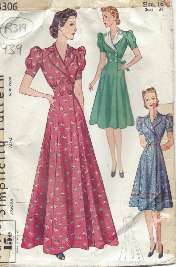 1939 Vintage Schnittmuster B34 Morgenmantel & Kleid