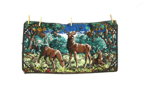 1970s Deer Tapestry Wall Hanging Retro Kitschy Home Decor Hipster Fabric Picture Hunter Outdoor Cabin Decor GS