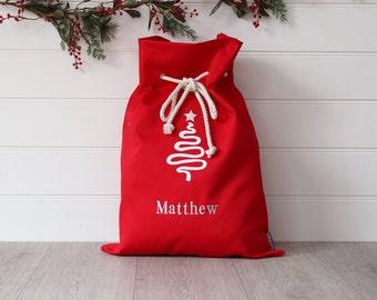 Personalised Santa Sack Red Tree,christmas sack,christmas bag,personalized santa sack,christmas name bag,kids christmas decoration,xmas bag