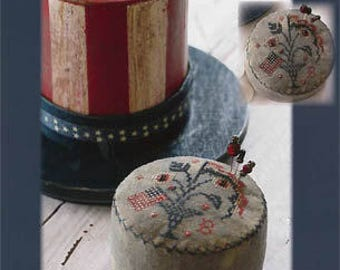 BLACKBIRD DESIGNS Hats Off to Uncle Sam Drum Pinkeep counted cross stitch patterns at thecottageneedle.com 4th of July