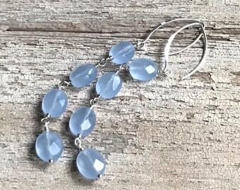 Minimalist Blue Czech Glass Sterling Silver Dangle Drop Earrings, For Her Under 45,