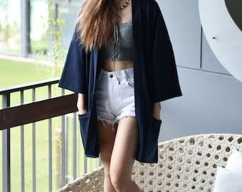 Women's Navy Long Japan Kimono Cardigan, Woman Noragi Coat, Oversized Street Haori Jacket, Unisex Streetwear, Loose Style Yukata Overcoat