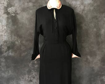 "Vintage 1950's Nat Tuman black rayon crepe dress pink satin collar and cuffs panniers 31"" waist"