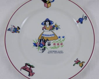 "Shenango China Restaurant Ware Nursery Rhyme 8"" Plate ""Mistress Mary Quite Contrary"""