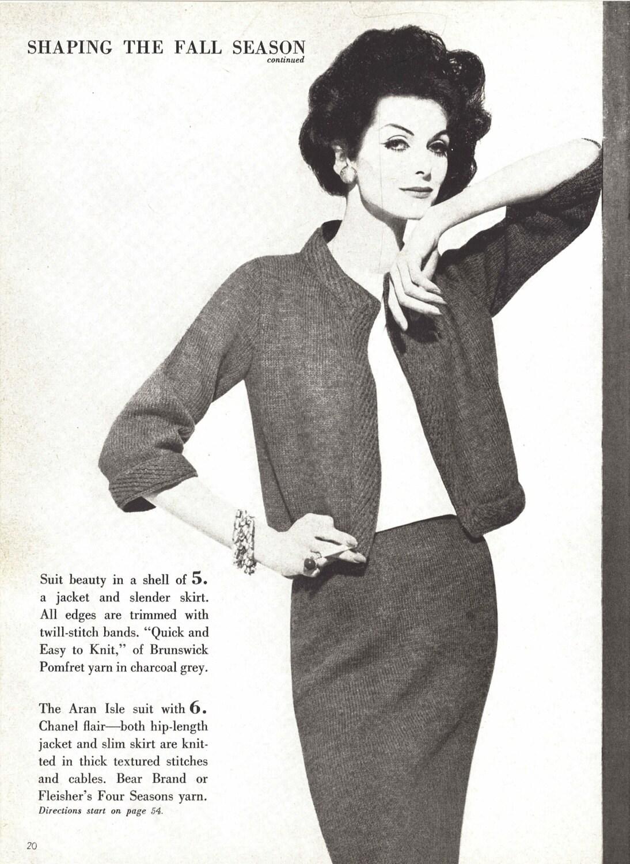 Brunswick Suit Dress • 1960s Knitting Knit Sweater Skirt Pattern ...
