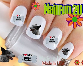"DOG BREED Nail Decals""Love my Australian Cattle Dog Blue Heeler Bone""Nail Art Set#1052 Waterslide Nail Decals Transfers Sticker Accessories"