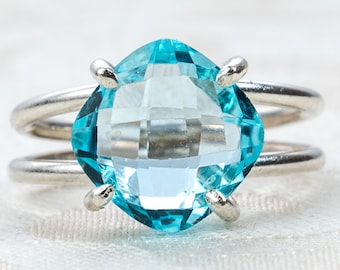 Sky Blue Topaz and Sterling Silver Ring - Blue Stone Ring - December Birthstone Jewelry - Cushion Cut Stone - Large Topaz Ring