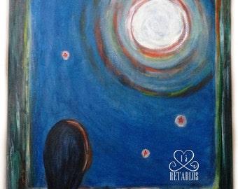 Proceeds to Animal Rescue, Retablo Folk Art, Open Window, Moon & Stars, Faceless Girl, Catching the Moon, Blue Green Orange, Original