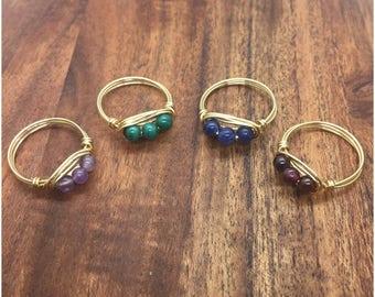 TriStone Ring, Multistone Ring, Gold Wire Wrapped Ring, TriStone Gold Ring, Wire Wrapped Ring, Gold Wire Ring, Silver Ring, Silver Wire Ring