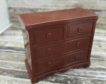 Superior T Cohn  Chiffarobe Dresser Drawers Doll House Toy  Hard Plastic Brown large scale