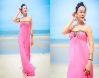 Pink Strapless Beach evening long maxi Sun dress S M L XL