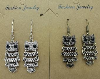 Earrings articulated owl, silver or bronze metal - B089