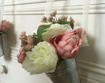 X1 Wedding church or ceremony pew ends or for table centrepieces...Rustic peonies with ivory roses with ribbon to hang in silver buckets