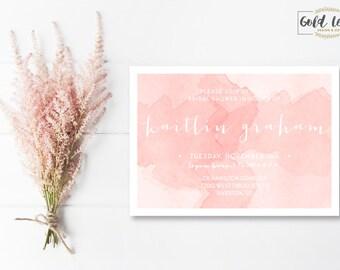 Bridal Shower Invite // Pink Watercolor