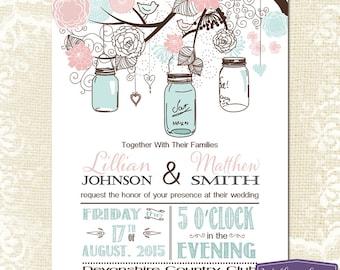Mason Jar Wedding Invitation - Pink and Blue Mason Jar Wedding Invite - Rustic Barn Vintage Wedding Invitation - 6113 PRINTABLE