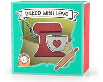 Baked With Love Pop-up Card , 3D , Mixer , Kitchen , Rolling Pin , Timer  , Family , Friend , Whisk , Heart