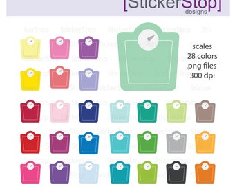 Scale Rainbow Clipart 28 colors, PNG Digital Clipart - Instant download - weight fitness crossfit dieting tracker weigh in