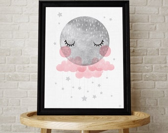 Baby Moon with clouds and stars nursery print