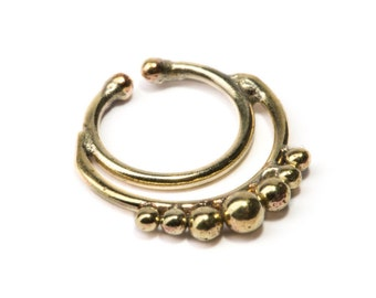 Septum Ring Brass Nickel Free Septum Fake Septum Tribal Jewelery Indian Nose Ring B27 Gift Boxed and Gift Bag Free UK Delivery