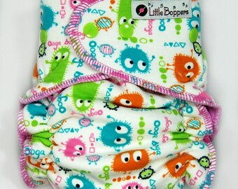 One Size Hybrid Fitted Cloth Diaper - OS Cloth Nappy - Candy Ooga Booga - Spring Colors Monsters Baby Diaper Nappies Diapers