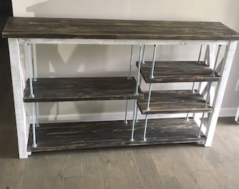 Entryway Table made with DockPieces  // Adjustable Shelving  // Reclaimed Wood