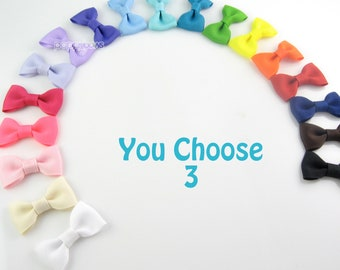 Baby Hair Bows Pinched Style - 3 Pack Alligator Clips - Small Hairbows - For Newborn Toddler Girls - 2 Inch Bows Non Slip Grip