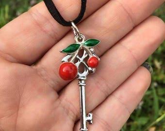 Cherry Key Charm Necklace