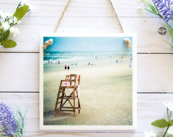 Beach bathroom decor, beach wall art, beach prints, coastal decor, beach photography, ceramic tile signs, Tybee Island, Savannah Georgia