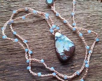 Opal Necklace, Boulder Opal Necklace, Macrame Necklace, Crochet Necklace, Long Necklace, Layering Necklace, Boho Jewelry, Bohemian Jewelry