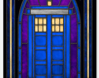 Doctor Who TARDIS  - Stained Glass window cling