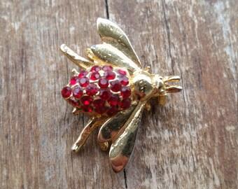 Red Rhinestone Firefly Brooch